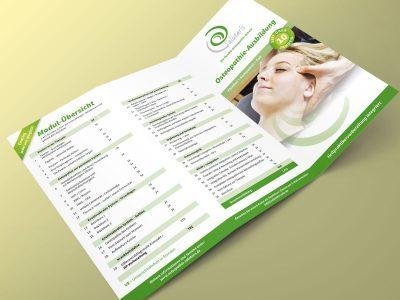 Ein Flyerdesign für eine Osteopathie-Ausbildung